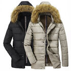SF056 Mens Casual Slim Winter Warm Fur Hooded Jackets Coat cotton-padded clothes