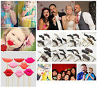 4 Pcs Photo Booth Props Moustache Lips Wedding Party Polymer CLAY on a Stick