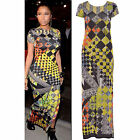 Women's Ladies Tribal print Cap Sleeves Side Split Stretch Party Maxi Dress 8-14