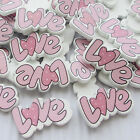 E638 10/50/100/500pcs LOVE Flatbacks No Hole Wood Buttons 27mm Sewing Lots Pink