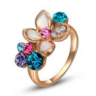 Rose Gold Gp Multi Color Austrian Crystal Christmas Gift New Finger Rings 96pa