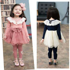 Baby Girls Children  Lace Skirt One-piece Long Sleeve Bow Tutu Cute Dress Skirt