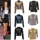 Women Ladies Celebrity Style Sequin 3/4 Sleeve Cropped Blazer Jacket Party Top