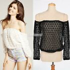 Sexy Women Casual White Lace OFF-Shoulder Loose Tops Summer T-Shirt Shirt Blouse