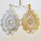 Rhinestone Swirl Dangle Drop Silver or Gold Tone Clip or Pierced Trendy Earrings