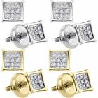Diamond Stud Earrings Princess Square Kite Shape 925 Sterling Silver Micro-Pave