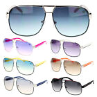 Mens Metal Flat Top Mobster Fashion Light Color Lens Racer Aviator Sunglasses