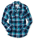 Aeropostale Womens Bright Plaid Button Up Shirt