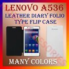 LEATHER DIARY FOLIO FLIP FLAP CASE for LENOVO A536 MOBILE FRONT/BACK FULL COVER