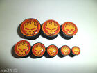 Acrylic Screw Fit Flaming Skull, Ear Tunnel Plug Stretcher Choice Of Sizes New