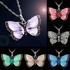 Women Fashion Jewellery Enamel Butterfly Crystal Silver Pendant Necklaces Chain