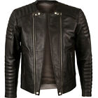 VIPARO Dark Brown Premium Quilted Double Zipper Leather Biker Jacket - Freeman