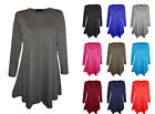Women Ladies Plain Long Sleeve Skater Swing Stretchy Flared Smock Mini Dress Top