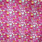 FFA-129 LOVE DUCKS PINK COTTON LINEN CANVAS UPHOLSETERY FABRIC BY 0.5 Yard