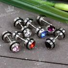 1pc Crystal Stainless Steel O-ring Fake Cheater Barbell Earring Ear Stud
