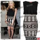 Womens Celeb Contrast Printed Skirt Pencil Party Evening Bodycon Dresses 810246
