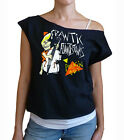 "Frantic Flintstones ""Rockin Out"" women's cropped  raw edge off-shoulder top"