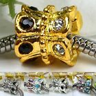 5x Flower Gold Silver Plated Crystal European Spacer Bead Fit Charm Bracelet DIY