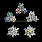 10x Bling 3D Flower Alloy Rhinestone Jewery Nail Art DIY Slice Decoration Crafts