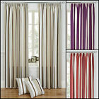 """STRIPE PRINTED LINED 3"""" TAPE TOP CURTAINS - CUSHION CASES ALSO AVAILABLE"""