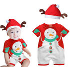 Baby Christmas Cloths Outfits Boy Girl Kids Romper Hat Cap Set Gift for 0-3Y UK