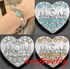 1piece Click Snap On Crystal Mom Heart Metal Button Fit Style Bracelet