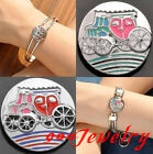 1piece Click Snap On Enamel Carriage Metal Button Fit Style Bracelet