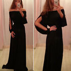 Women Sexy Boat Neck Off Shoulder Chiffon Maxi Long Evening Party Dress Black