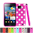 Polka Dots Soft Silicone Case Cover For Samsung Galaxy S2 I9100+Screen Protector