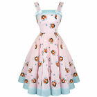 Hell Bunny Foxy Pink 50s Vintage Style Rockabilly Swing Party Dress