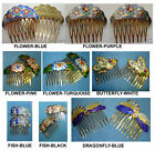 NEW-ONE PAIR HAND PAINTED CLOISONNE ENAMEL HAIR COMBS