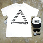 Mens Optical Illusion Triangle Graphic T Shirt w/ Trucker Hat, Watch, Sunglasses