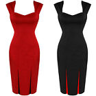 Office Work Fitted Wiggle Pencil Dress Black Red Size 8 - 18