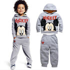 Baby Boys Kids Mickey Mouse Hooded Tops +Pants Tracksuit 2pcs Cotton Outfits