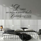 LARGE ALBUS DUMBLEDORE QUOTE IN DREAMS WE ENTER OWN WORLD WALL DECAL STICKER ART