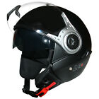 Leopard LEO-612 DVS Open Face Scooter Motorcycle Motorbike Helmet Matt Black