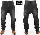 Mens Designer Humor Jeans Drop Crotch Santiago Trendy Tapered Fit Washed Denim