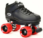 Ridell Dart Quad Roller Derby Speed Skates Black w/ Red Wheels & 2 pair of Laces