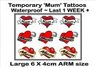 MUM HEART  temporary TATTOOS X3  LARGE ARM size waterproof  LAST 1 WEEK+