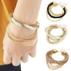 Fashion Handmade Gold Chain Braided Rope Multilayer Bracelet Chain Bangle Gift