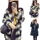 New Women's Woolen Coat Jacket Outwear Grid Lapel Collar Comfort Casual Warm Hot