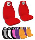 2 Front Route 66 Velvet Seat Covers with 7 Color Options