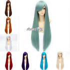 80cm Straight Lady Anime Fashion Synthetic Heat Resistant Cosplay Hair Full Wig