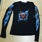 Long Sleeve Black T Shirt Heart with Lightening Size Small fnt