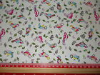 Pink / Blue Bird design fabric 100% cotton poplin Fabric material Retro