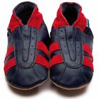 Inch Blue Boys Baby Luxury Leather Soft Sole Pram Shoes - Sports Navy & Red
