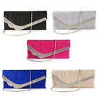 FLAP SATIN CRYSTAL DIAMANTE CLUTCH BAG PURSE EVENING BRIDAL PROM