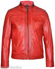 David Men's Red Fashion Style Biker Motorcycle Real Italy Napa Leather Jacket