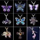 New Jewelry Tibetan Silver Crystal Rhinestone Inlay Sweater Pendants Necklace