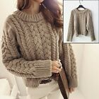 Round Neck Plaited Sweater Women Khaki Chunky Cable Knit Braided Jumper Knitwear
